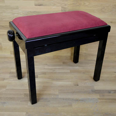 black polish red wine velvet piano stool