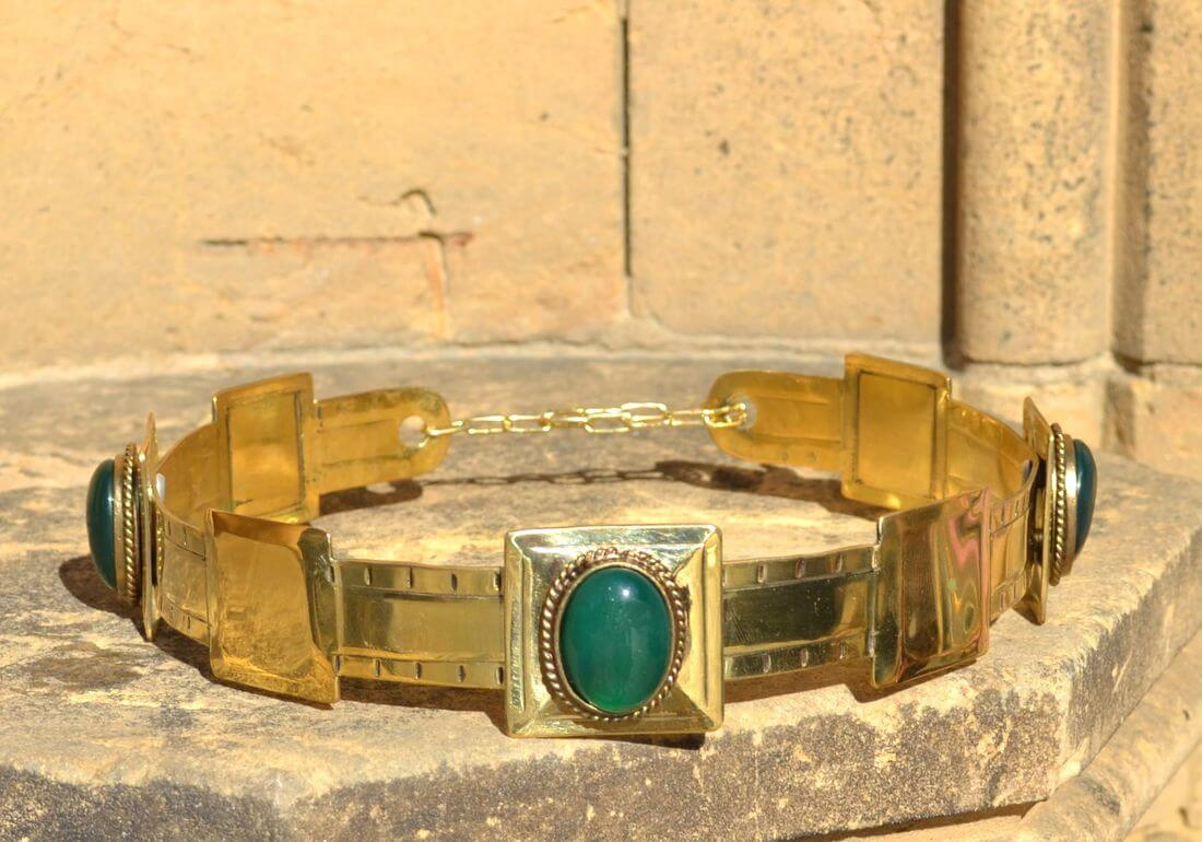 ARTHUR | Noble Medieval Agate Brass Crown