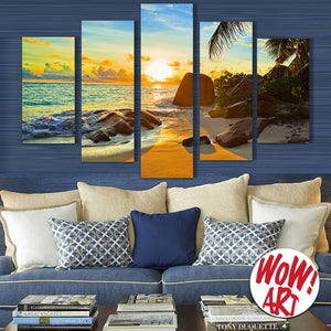 Ocean Sunset Beach 5-Panel Canvas WOW! Art