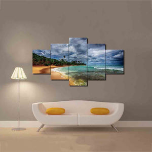 A Deserted Beach – 5-panel Canvas Wall Art