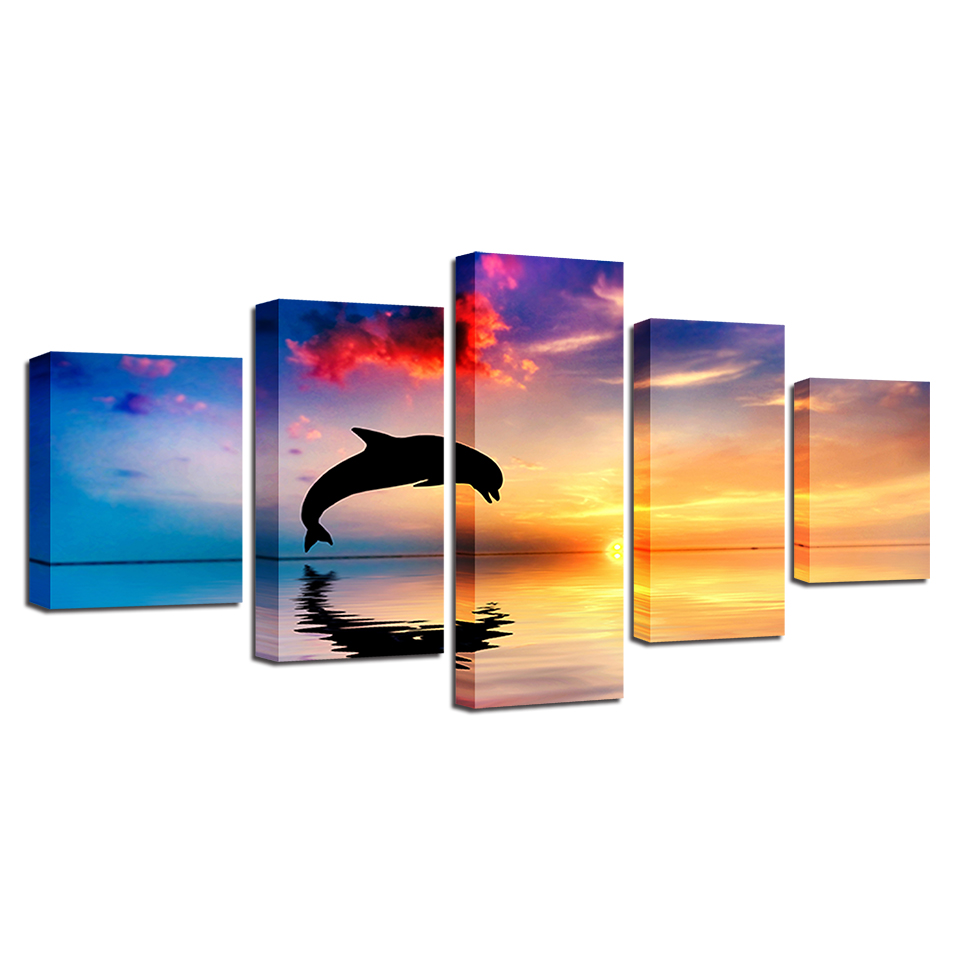 Leaping Dolphin in The Sunset 5-Panel Canvas Wall Art