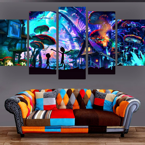 Rick And Morty Mushroom World – 5-panel Canvas Wall Art