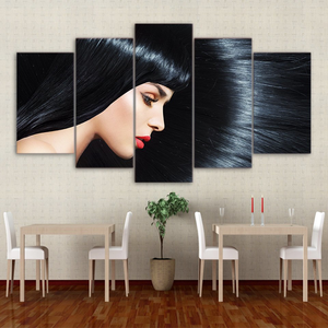 Lady With Black Hair 5-Panel Canvas Wall Art