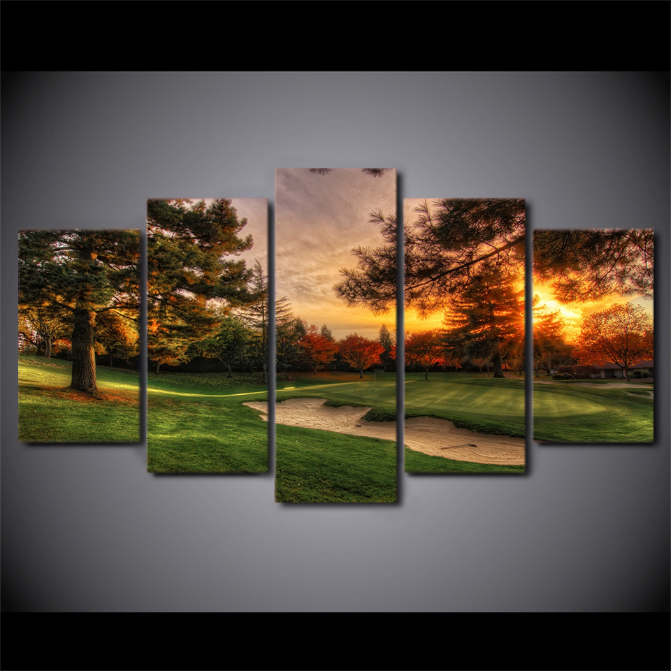 Golf Course At Sunset 5-Panel Canvas Wall Art