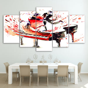 I Dream of Dancing on My Piano 5-Panel Canvas Wall Art