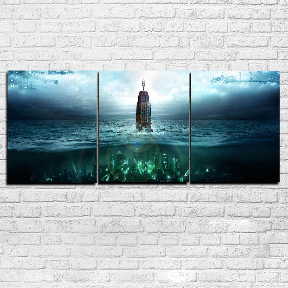 Seabed Building Abstract 3-Panel Canvas Wall Art