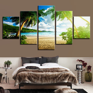 Beach with Coconut Trees Sea Landscape 5-Panel Canvas Wall Art