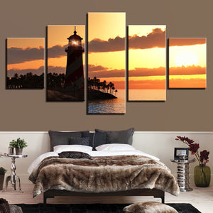 Lighthouse In The Sunset 5-Panel Canvas Wall Art