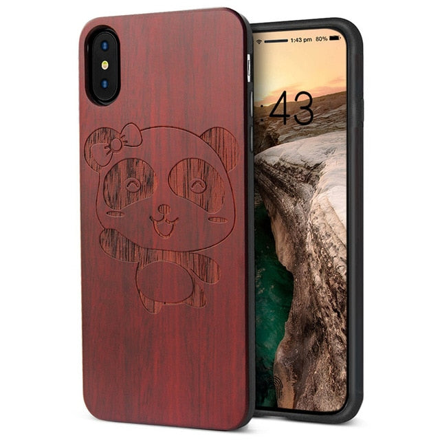 iPhone X, XS Case – Luxury Carved Wooden Grain and Flexible TPU Silicone Hybrid Slim Phone Case