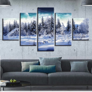 Forest Snow Landscape 5-Panel Canvas Wall Art