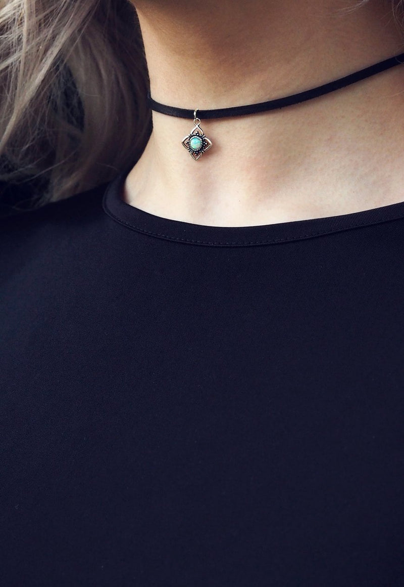 KYLA White Opal Sterling Silver Pendant Leather Choker