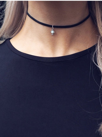 ZARINA. Studded Leather & Chain Choker
