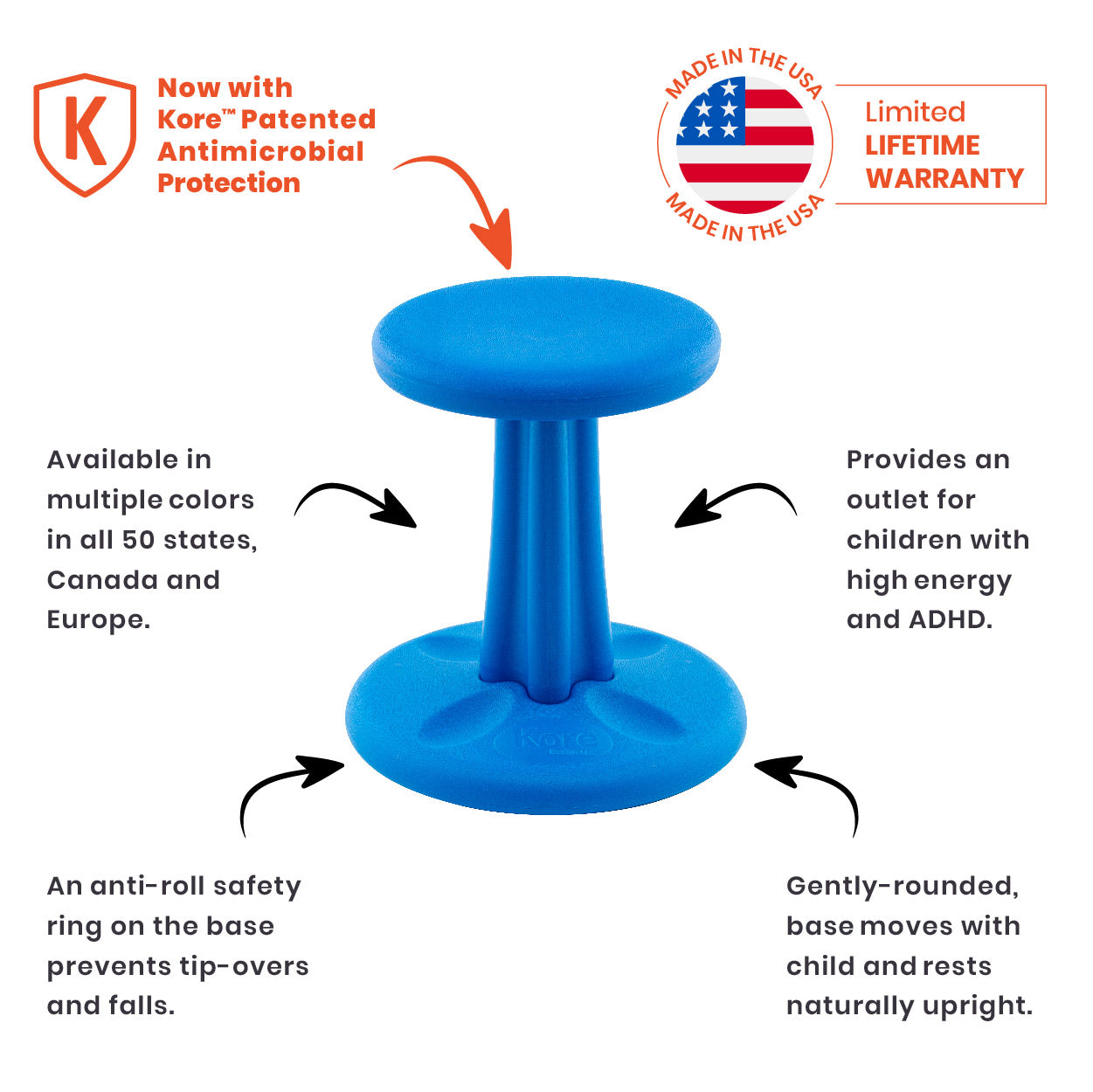 Kore Patented Wobble Chair NOW Antimicrobial - Kids Size 14""