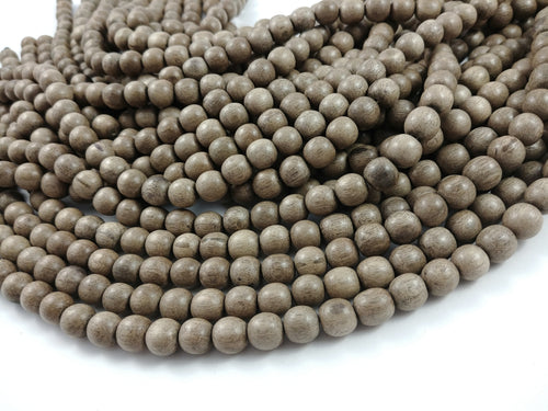 40 Grey Wooden Beads - Round Greywood Beads 10mm