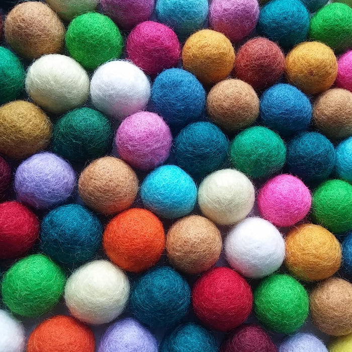 Felt Balls Color Mix - 50 Pure Wool Beads 20mm - Multicolor Shades