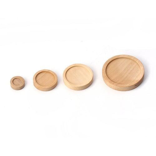 Wood cabochon frame settings, flat round, 8, 16, 20 or 29mm tray