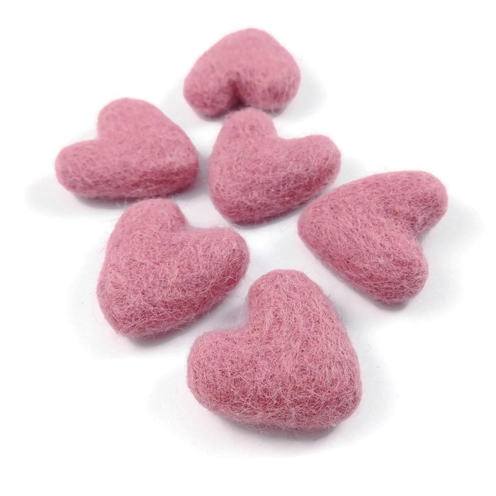 Felt Pink Hearts - 6 Pure Wool Beads 30mm -