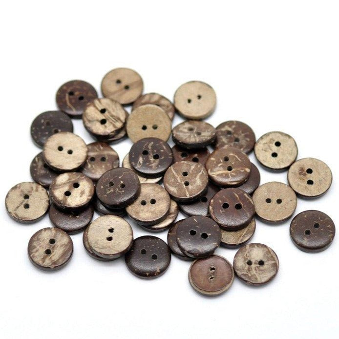 12 Brown Coconut Small Buttons 11mm - Natural Wood and Eco Friendly