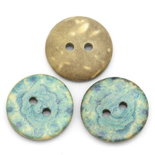 Load image into Gallery viewer, 6 Coconut Shell Buttons 15mm - Aqua Blue Pattern