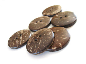 6 Brown Coconut Big Buttons 30mm - Natural Wood and Eco Friendly