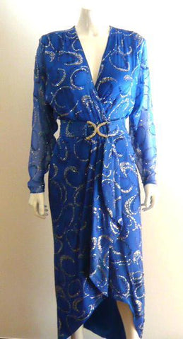 Custom Glitter Blue Maxi Dress