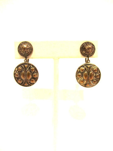 Etruscan Style Silvertone Earrings