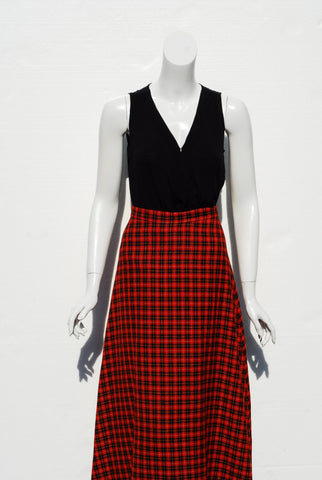 Red Plaid Maxi Skirt