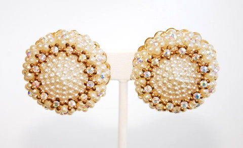 Pearl and Rhinestone Clip Earrings