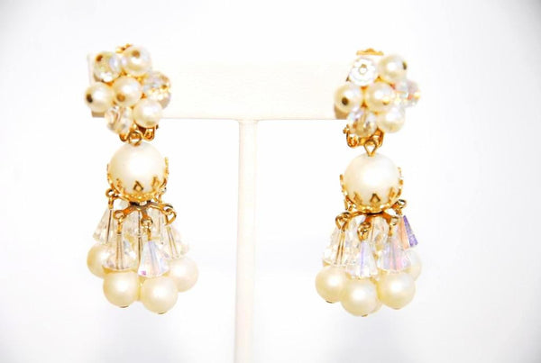 Pearl and Bead Chandelier Earrings