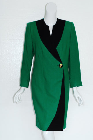 Lilli Ann 80's Green and Black Colorblock Dress