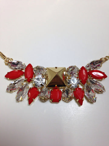 Vintage Inspired Red Rhinestone Necklace Set