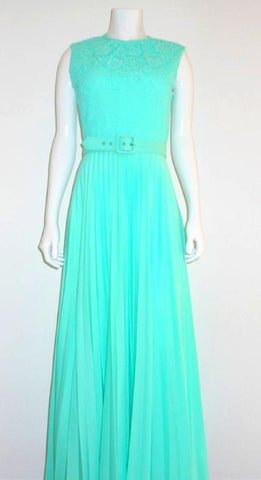 Aqua Accordion Pleat Maxi Dress with Vest