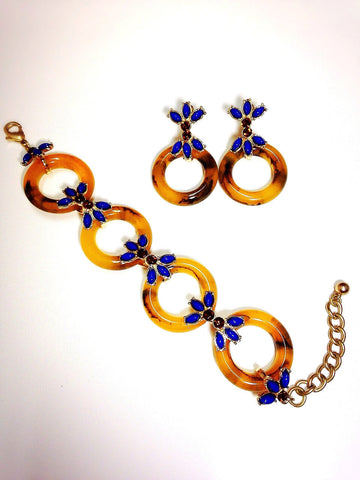 Vintage Inspired Tortoise Bracelet with Blue Rhinestone Earrings