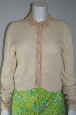 50s Cream Crochet Cashmere Cardigan