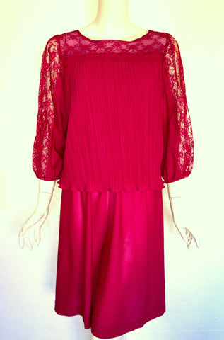 Good Times Magenta Pleated Top Dress with Lace Sleeves