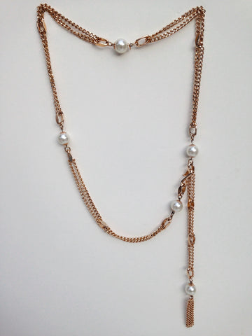 60s Pearl and Gold Chain Link Belt Necklace