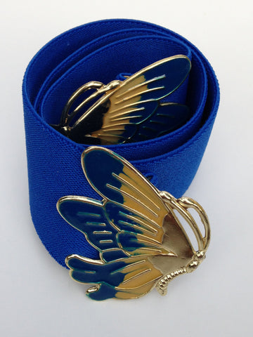 Cobalt Blue Butterfly Enamel Stretch Belt
