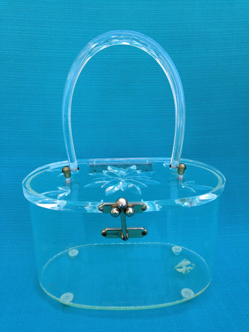 Charles S Kahn Clear Carved Lucite Box Purse