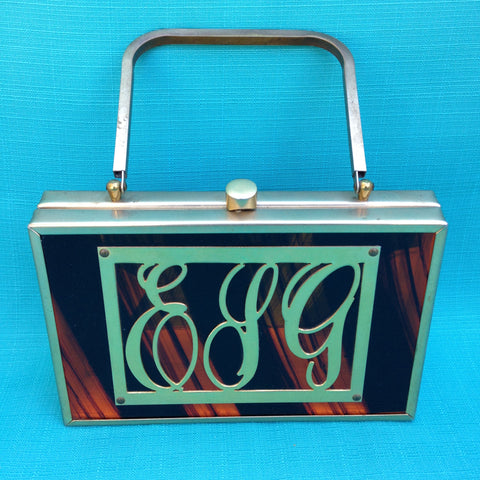 Tyrolean NY Amber Striped Lucite Monogram Briefcase Handbag