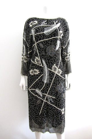 Black and White Beaded Feather Motif Dress