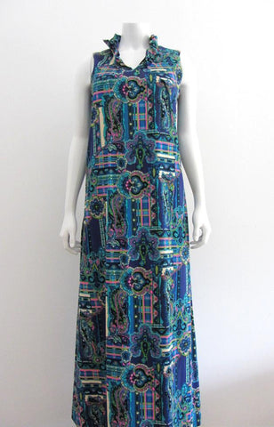 Hawaiian Sleeveless Blue Multi Maxi Dress