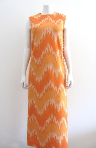 Nardis of Dallas Orange Flame Print Maxi Day Dress