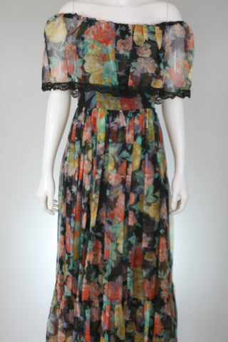 Victor Costa 80s Floral Tiered Dress