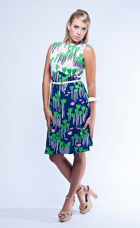 Navy, Green, and Pink 60s Mod Sleeveless Dress