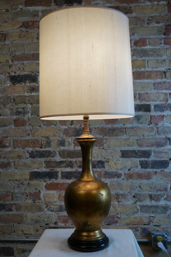 Large Mid-Century Lamp with Gilded Base and Tall Ivory Shade