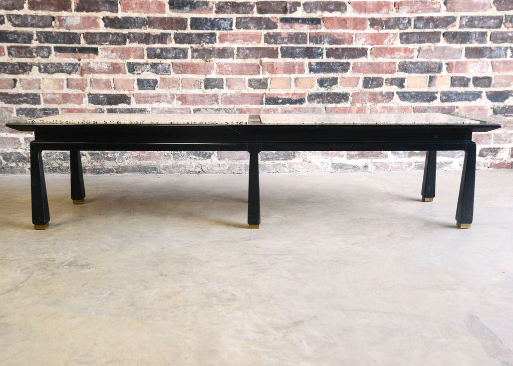 Black Lacquer and Terrazzo Bench