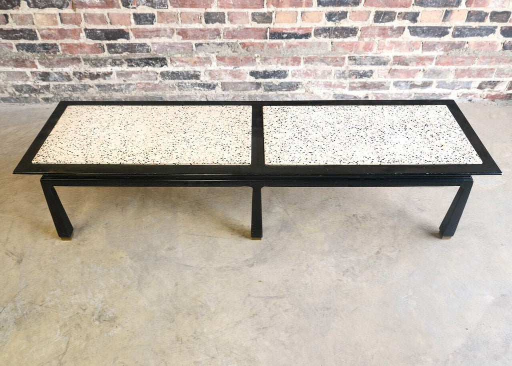 mid-century terrazzo bench with asian inspired influences