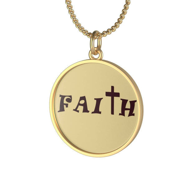 "Single Loop Necklace Gold Plated ""Faith"" Indigo or  Lotus Coin in 16 or 30 Inches"
