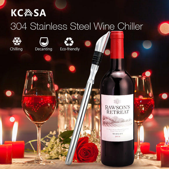KCASA 3in1 Wine Bottle Cooler Stick Aerator Decanter Beer Chiller Pourer Stopper - Wines Club