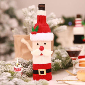 Christmas Wine Bottle Cover Decor Set Santa Claus Snowman Deer Bottle Cover Clothes Decoration for 2019 New Year Dinner Party - Wines Club